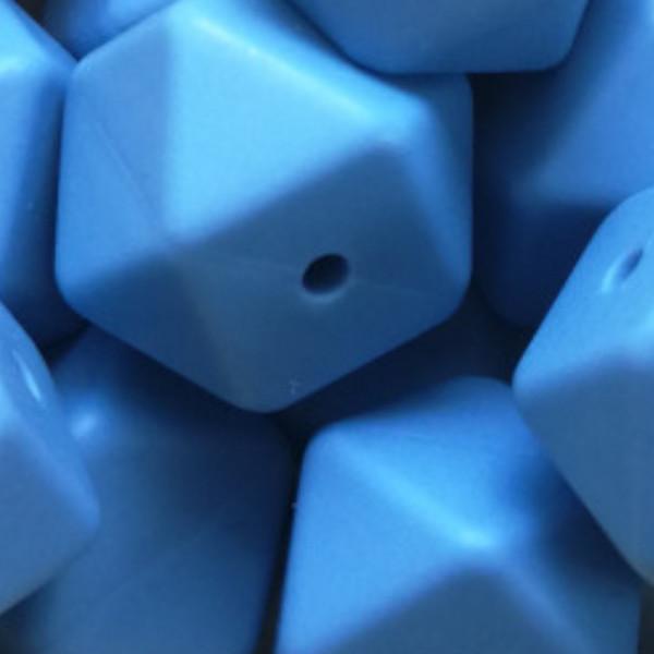 Silikonperle Hexagon Niagarablau
