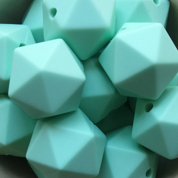Silikonperle Ikosaeder Mint 14mm