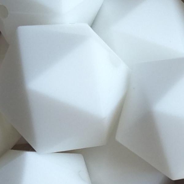 Silikonperle Ikosaeder Weiß