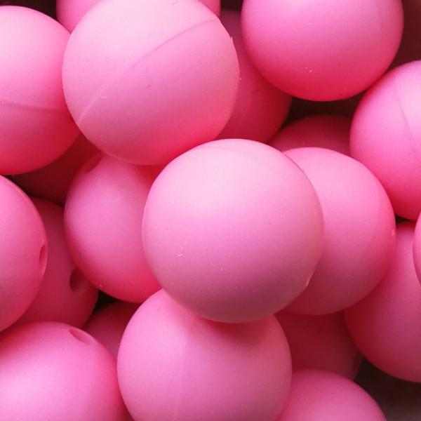 Silikonperle Rund Pink 15mm