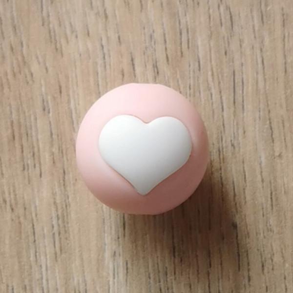 Motivperle Herz Rosa/Weiß