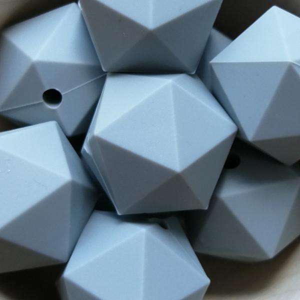 Silikonperle Ikosaeder Grau