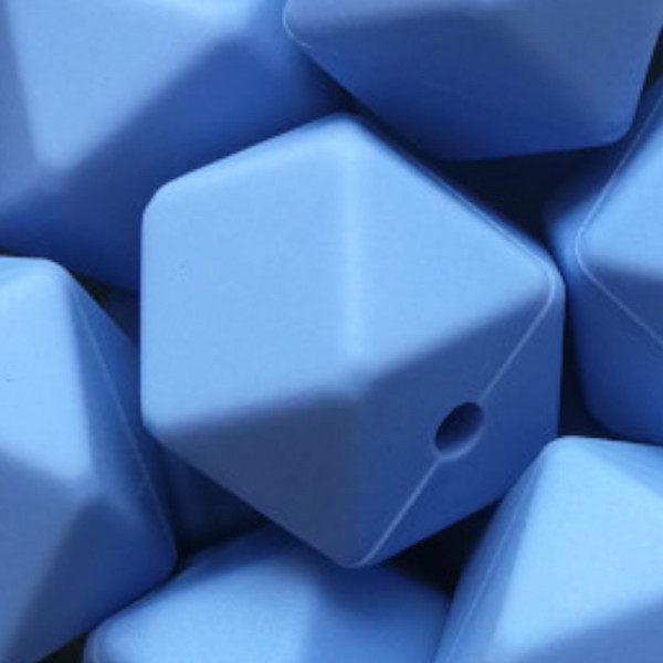 Silikonperle Hexagon Blau
