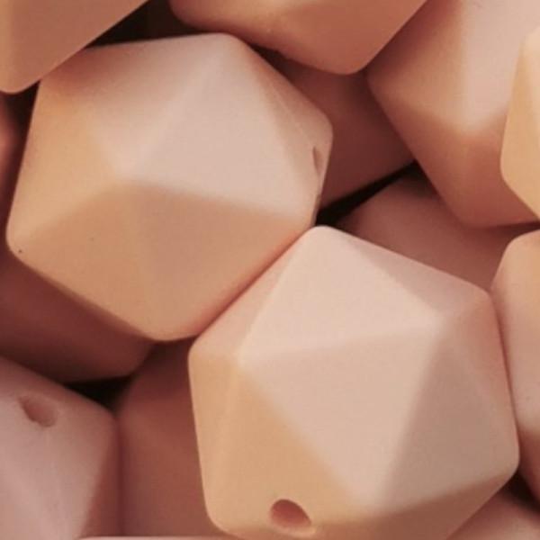 Silikonperle Ikosaeder Pfirsich 14mm