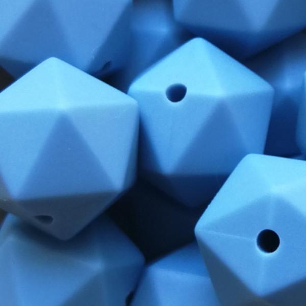 Silikonperle Ikosaeder Taubenblau 14mm