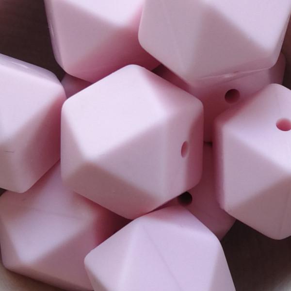Silikonperle Hexagon Pastellrosa