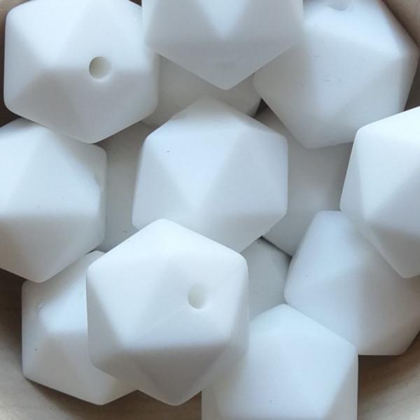 Silikonperle Ikosaeder Weiß 14mm