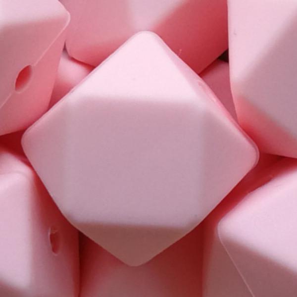 Silikonperle Hexagon Rosa