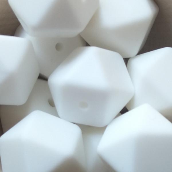 Silikonperle Hexagon Weiß