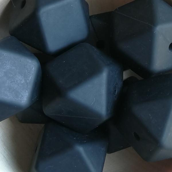 Silikonperle Hexagon Schwarz