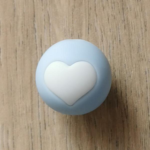 Motivperle Herz Pastellblau/Weiß