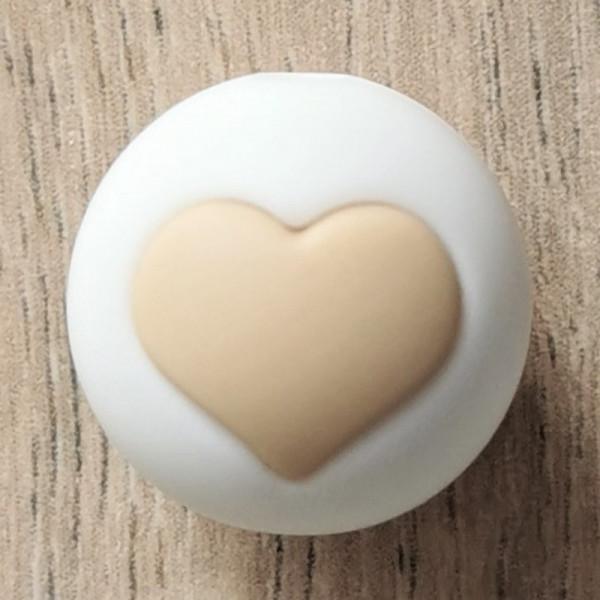 Silikonperle Herz Weiß/Cappuccino