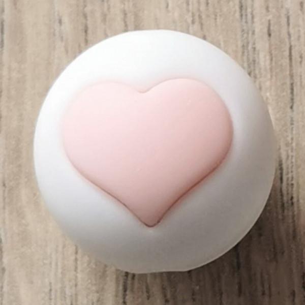 Silikonperle Herz Weiß/Rosa
