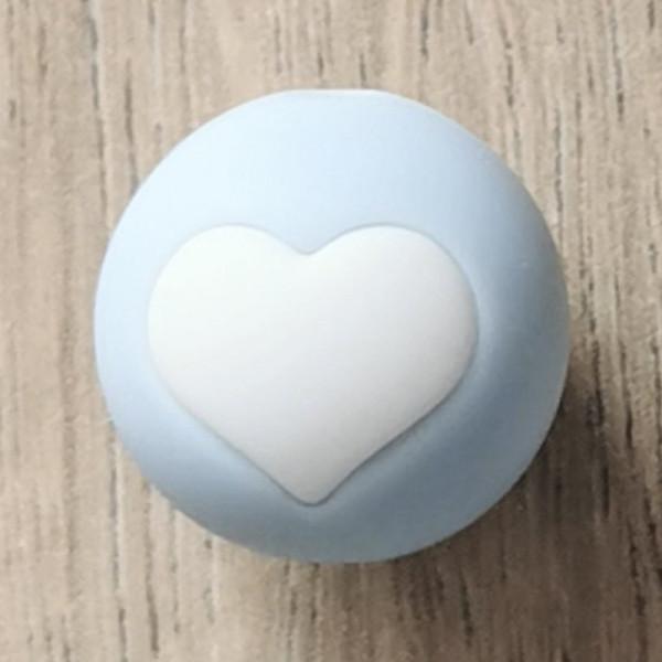 Silikonperle Herz Pastellblau/Weiß