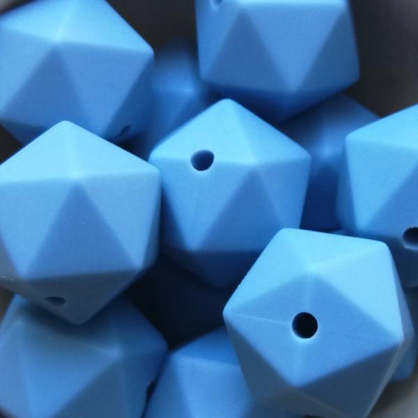 Silikonperle Ikosaeder Niagarablau 14mm