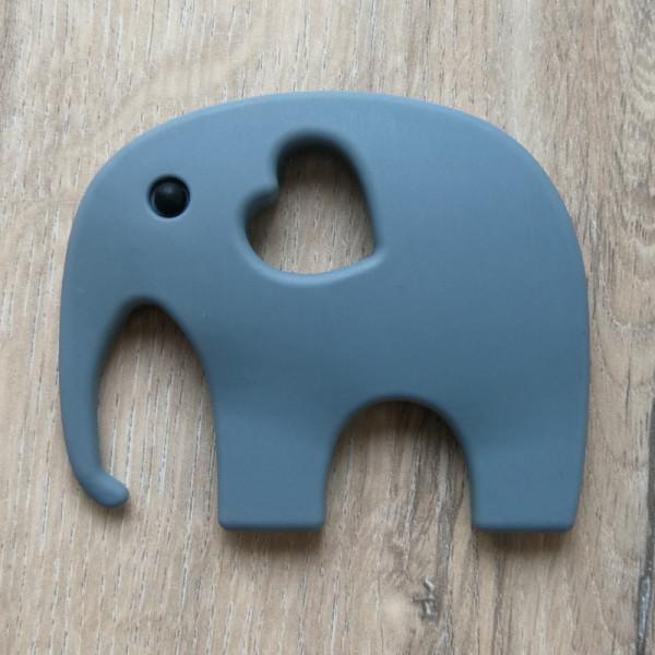 Silikonanhänger Elefant Dunkelgrau