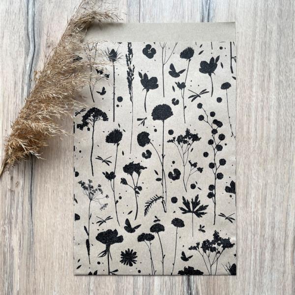 5x PAPIERTASCHE / GESCHENKTASCHE MITTEL FLOWER