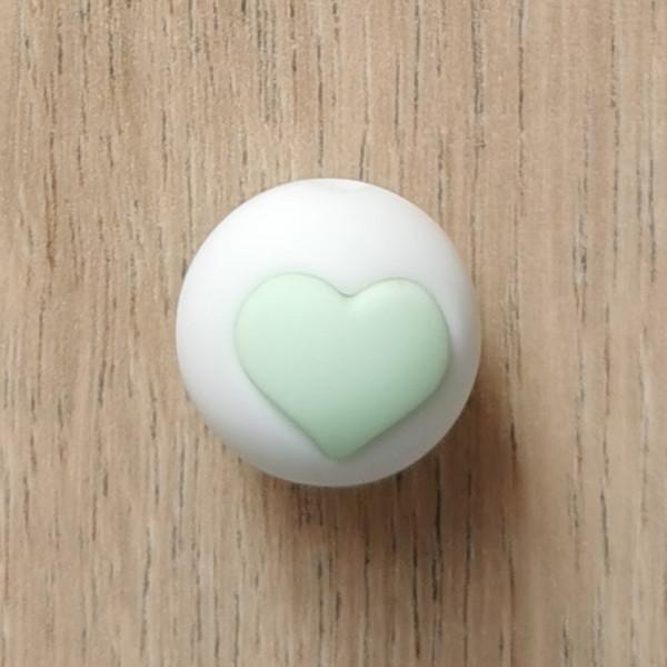 Motivperle Herz Weiß/Mint