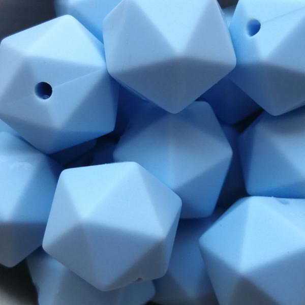 Silikonperle Ikosaeder Pastellblau 14mm