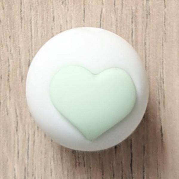 Silikonperle Herz Weiß/Mint