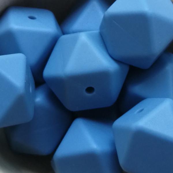 Silikonperle Hexagon Taubenblau