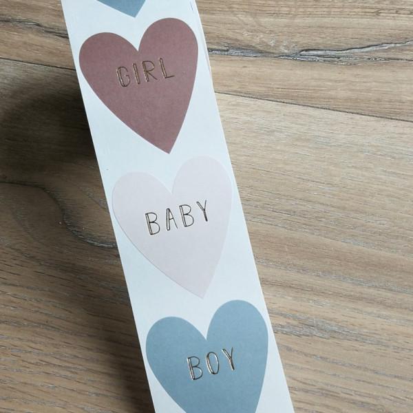 10x HERZ AUFKLEBER - BABY - BOY - GIRL ZUR GEBURT / TAUFE