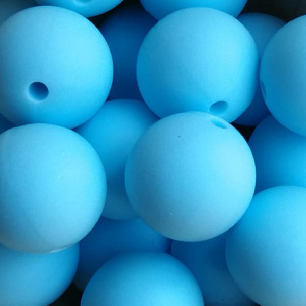 Silikonperle Rund Eisblau 15mm