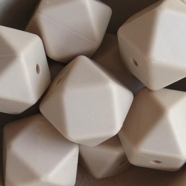 Silikonperle Hexagon Cappuccino